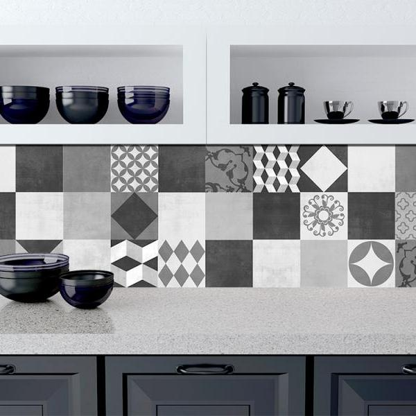 Geometric Graphite Tiles Stickers Art Prime for Kitchen Decoration (Pack of 48) - 4 x 4 inches
